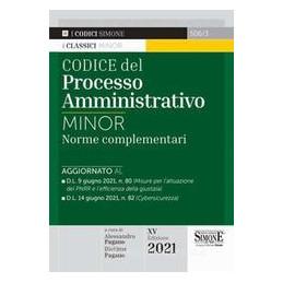 CODICE DEL PROCESSO AMMINISTRATIVO. NORME COMPLEMENTARI. EDIZ. MINOR